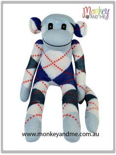 Pale Blue argyle Sock Monkey  Adopt over at monkeyandme.com.au #sockmonkeys #gifts #toys