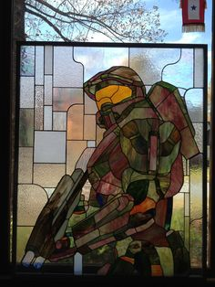 Halo Master Chief Spartan - Halo 4 - Stained Glass. $4,000.00
