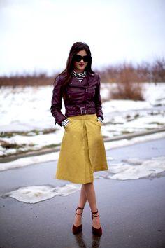 1.13 corilynn love (H&M jacket + J Crew Factory turtleneck + Corilynn skirt + Lulu's heels + House of Harlow sunnies + YSL 'rouge pur couture #9' lipstick)