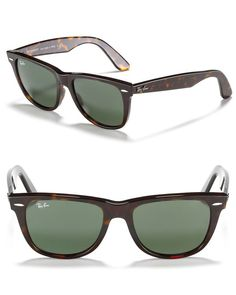 Forever a favorite, Ray-Ban wayfarers belong in every accessory collection. | Made in Italy | 100% UV protection | Black frames with G15 XLT green lenses; Tortoise frames with G15 XLT green lenses | M