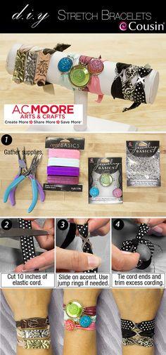 DIY stretch bracelets - how to make your own jewelry- stretchy bracelet tutorial