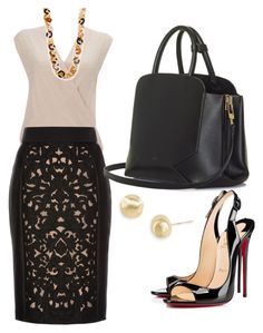 """Nude and black"" by bridgnawa on Polyvore featuring Christian Louboutin, Wallis, Nest, Temperley London, BEGA and Marco Bicego"
