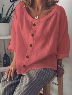 Shop Blouses - Inschics Long Sleeve 1 White Red Yellow Green Blue Women Blouses Peter Pan Collar Cotton-Blend Casual But Cheap Womens Tops, Casual Tops For Women, Blouses For Women, Ladies Blouses, Trendy Tops, Shirts & Tops, Women's Tops, Casual Skirt Outfits, Types Of Sleeves