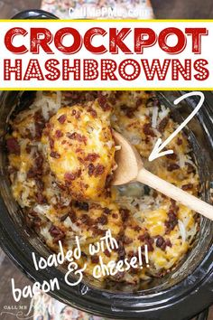 Crockpot Hashbrowns easy easy!! Hashbrowns, bacon bits, cheese, sour cream... The easiest side dish you'll make. The whole family loves it! Crockpot Side Dishes, Side Dishes Easy, Side Dish Recipes, Dinner Recipes, Main Dishes, Best Slow Cooker, Slow Cooker Recipes, Crockpot Recipes, Cooking Recipes