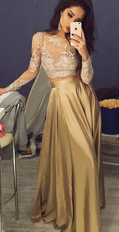 Two pieces Prom Dress,Lace Long Sleeves Evening Dress,Gold Floor Length Prom Dress,Sexy dress