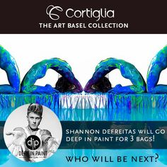My #brush is in your hands! What #colors should I use on my three custom painted #tennis bags for the #Cortiglia Art Basel Collection? Proceeds from the sale of the bags will go to #charity. #ArtBasel #Wynwood #Miami #DIP #DeepinPaint http://www.deepinpaint.com/