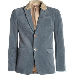 blazer tailored from textured-velvet and features a rabbit collar along with a leather undercollar (brand: undercover).