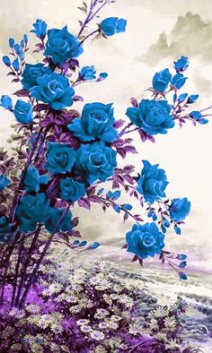 Flower wall art diy canvases 42 ideas for 2019 Beautiful Nature Wallpaper, Beautiful Gif, Beautiful Roses, Beautiful Pictures, Amazing Flowers, Pretty Flowers, Blue Flowers, Gif Bonito, Fleur De Lis