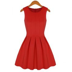Simple Style Scoop Collar Sleeveless Solid Color Flouncing Women's Sundress (RED,S) in Summer Dresses | DressLily.com