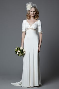 Lotty 1940 S Style Full Length Silk Crepe Wedding Dress With Lace Inserts Worn Birdcage Veil