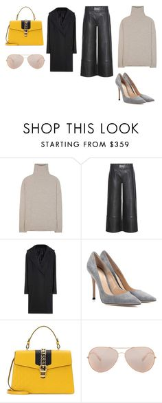"""""""Sin título #10303"""" by ceciliaamuedo ❤ liked on Polyvore featuring Jardin des Orangers, STOULS, Acne Studios, Gianvito Rossi, Gucci and Oliver Peoples"""