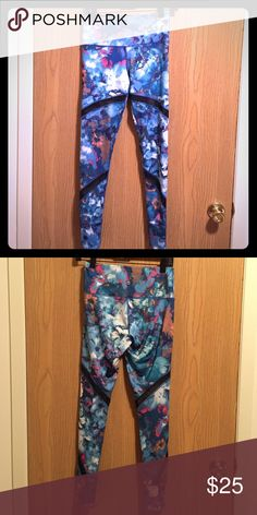 Reflex brand full length legging with mesh detail Full length yoga pant by Reflex with mesh detail. Actual colors are a vibrant blue, hot pink and orange mix, with black mesh. 88% polyester, 12% spandex. Reflex Pants Leggings