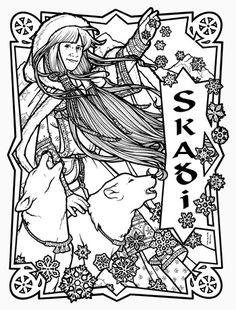 Yemaya yoruban goddess of the ocean 2010 ren e for Norse mythology coloring pages