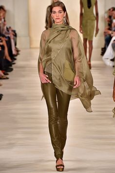 Love this Olive pant with a Sheer matching Cover Ensemble - Ralph Lauren Spring 2015 RTW - Runway - Vogue