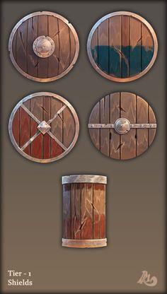 ArtStation - game items, Roman Podumey Fantasy Armor, Fantasy Weapons, Prop Design, Game Design, Roman Shield, Paint Games, Game 2d, Shield Design, Weapon Concept Art
