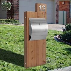 Timber Sleeper Letterbox with Stainless Front Panel Mailbox Australian Made Diy Mailbox, Modern Mailbox, Mailbox Ideas, Mailbox Post, Exterior Paint, Exterior Design, Fire Pits For Sale, Stainless Steel Mailbox, Mailbox Landscaping