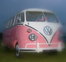OMG!!! Pink and White VW Bus! <3