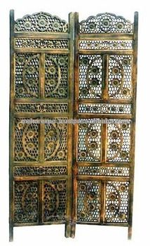 Screen partition mango wood carving