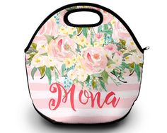 Our adorable monogram lunch bags arent just for the little ones. You will be the envy of the lunch table with our monogrammed lunch box. Design your very own from our wide selection of patterns and colors. { Product Details } • neoprene material • zippered top • machine washable (gentle cycle, lay flat to dry NO BLEACH) • Size: 12 x 11 (flat) • double-sided image {Lunch Bag Collection} https://www.etsy.com/shop/SassySouthernGals?section_id=14039565 {ORDERING INSTRU...