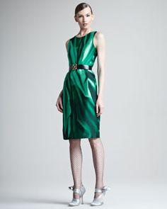 Oscar de la Renta Printed Silk Mikado Dress 2012