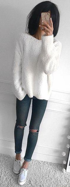 #winter #outfits white sheepskin sweatshirt