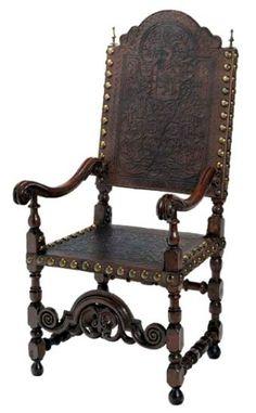 Cadeira de braços - Portugal, séculos XVII-XVII. Nogueira torneada e entalhada; couro lavrado e gravado; Inv.56