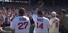 Fisk, Rice, & Yaz Jim Rice, Baseball Stuff, Boston Red Sox, Football Helmets, Guys, Sports, Hs Sports, Sons, Sport