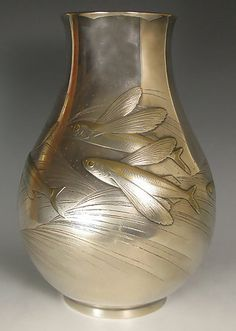 Example of Japanese silver is a signed work by Isozaki Yoshia.  Showa Period, Japan ABOVE INFO: FROM PREVIOUS PINNER.