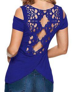 Women Crochet Off Shoulder Blouse Shirt Casual Tops