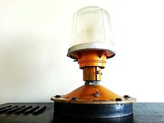 Salvaged Airport Runway Desk Lamp with toggle switch and name plate on Etsy, $250.00