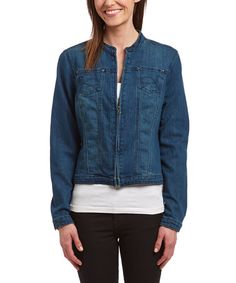 Another great find on #zulily! Medium Blue Moto-Collar Zip-Up Denim Jacket by BACCINI #zulilyfinds