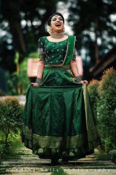 Indian Bridal Sarees, Indian Bridal Outfits, Indian Bridal Fashion, Kerala Engagement Dress, Engagement Dress For Bride, Kerala Saree Blouse Designs, Half Saree Designs, Lehenga Designs, Bride Reception Dresses