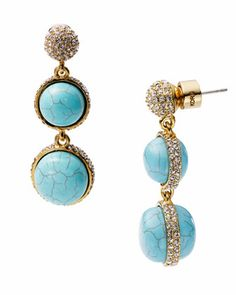 Michael Kors Turquoise Double Drop Earring with Pave Detail .