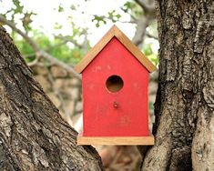 wood bird house, wooden birdhouse, red painted #housewares #homedecor @EtsyMktgTool http://etsy.me/2id0EtU