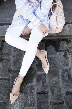 striped shirt stripes light blue point flats lace up pale pink white skinny jeans // Atlantic-Pacific: // tgif Looks Style, Style Me, Lace Up Ballet Flats, Nude Flats, Lace Shoes, Pointy Flats, Denim Shoes, Ballerina Shoes, Coco Chanel