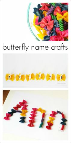 Colorful butterfly craft names - works on fine motor skills, letter knowledge, names, and is just plain fun. Amazing teaching idea by Early Learning Activities, Spring Activities, Alphabet Activities, Literacy Activities, Kids Learning, Alphabet Crafts, Preschool Literacy, Literacy Stations, Kindergarten Class