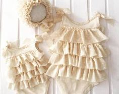 cod153 Newborn photo props, romper with ruffles and bonnet, sitter size photo prop, baby photography, newborn romper, frills