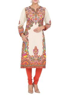 Buy Off White Cotton Straight Kurta online at Biba official store - PATCHITRA#9683OWHT.