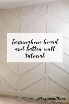 Honey Built Home - Tutorial Herringbone Board and Batten Wall DIY - Diy Decoration Home Renovation, Home Remodeling, Cheap Home Decor, Diy Home Decor, Diy Decoration, Bedroom Wall, Bedroom Decor, Master Bedroom, Bedroom Accent Walls