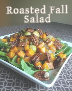 Easy Roasted Fall Salad. This Salad is Simple & Savory, and perfect for Fall dinners! ourhappykitchen.com