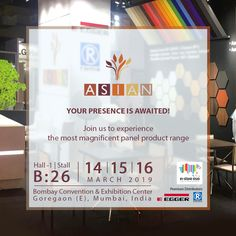Asian Prelam Invites you to explore the panel products with stunning textures and amazing surface finish only at VM&RD In-store Asia 2019 Stall in Hall 1 at the Bombay Convention & Exhibition Center, Goregaon (E), Mumbai, India between March 14 to Book Festival, Sustainable Furniture, Surface Finish, Flower Decorations, Mumbai, March, Asian, Invitations, India
