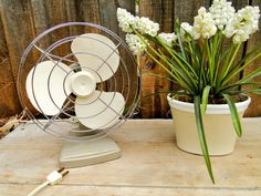 Vintage Fan, Table Fan, Sears, White by quirkyessentials on Etsy