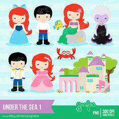 UNDER THE SEA 1 Digital Clipart Imagenes Princesas por grafos