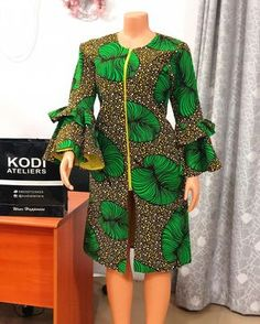 Check out this green ankara kimono dress African Fashion Ankara, Latest African Fashion Dresses, African Print Fashion, Ankara Dress Designs, African Print Dress Designs, Short African Dresses, African Traditional Dresses, African Attire, Kimono Fashion