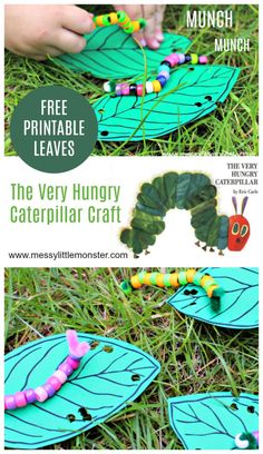 An easy The Very hungry Caterpillar craft for toddlers and preschoolers Free printable leaves template included A good kids activity for a Spring bug or growing themed pr. The Very Hungry Caterpillar Activities, Hungry Caterpillar Craft, Caterpillar Book, Bug Activities, Spring Activities, Sequencing Activities, Indoor Activities, Family Activities, Insect Crafts
