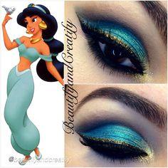 Prinzessin Jasmin - Animals that I love - Make-up Disney Eye Makeup, Disney Inspired Makeup, Eye Makeup Art, Eyeshadow Makeup, Princess Jasmine Makeup, Disney Princess Makeup, Princess Jasmine Costume, Looks Halloween, Halloween Makeup