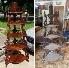 Victorian corner shelf antique black walnut restoration