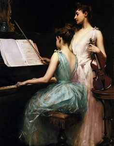 The Sonata (1889). Irving Ramsay Wiles (American, 1861-1948). Oil on canvas. Wiles studied with William Merritt Chase and Arthur Beckwith in New York, and at Academie Julien with Lefebvre in Paris. He later became an important illustrator for periodicals such as Scribners, Harpers and The Century. Like Chase, Wiles made teaching an important part of his artistic career. Chase so admired Wiles that after his death, Wiles was entrusted to finish several portraits in Chase's studio.