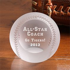 All-Star© Engraved Crystal Baseball