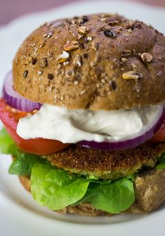 Falafel Burgers with Yogurt-Tahini Sauce! {Middle Eastern recipes} # ...